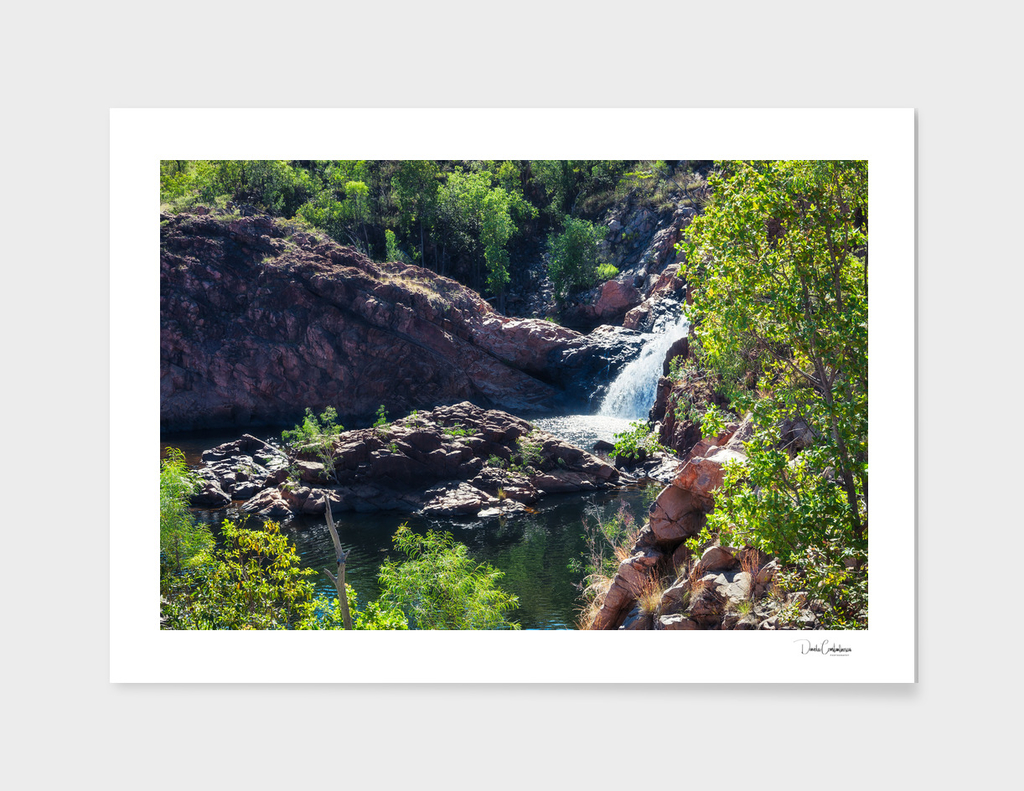 Close-up view from above at Edith Falls, Top End, Australia.