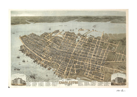 Vintage Pictorial Map of Charleston South Carolina (1872)