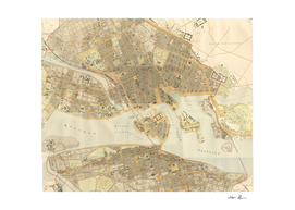 Vintage Map of Stockholm Sweden (1899)