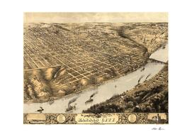 Vintage Map of Kansas City MO (1869)