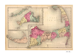 Vintage Map of Cape Cod (1871)
