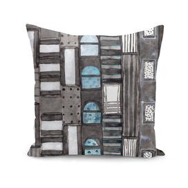 Gray Facade with Lighted Windows