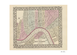 Vintage Map of New Orleans Louisiana (1880)