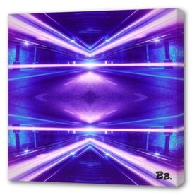 Geometric Street Night Light (HDR Photo Art) Purple