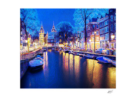 Winter Amsterdam Canal At Night With Boats