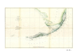 Vintage Map of The Florida Keys (1859)