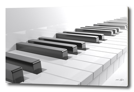 Keyboard of a white piano