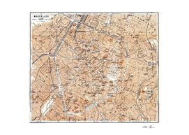 Vintage Map of Brussels Belgium (1905)