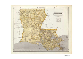 Vintage Map of Louisiana (1845)
