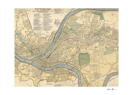 Vintage Map of Pittsburgh Pennsylvania (1891)