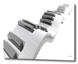 Keyboard of a piano waving on white background