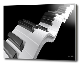 Keyboard of a piano waving on black background