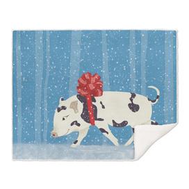 Cute Little Pig Holiday Design