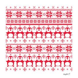 Red Scandinavian Penguin Holiday Design