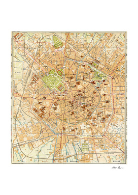Vintage Map of Milan Italy (1914)