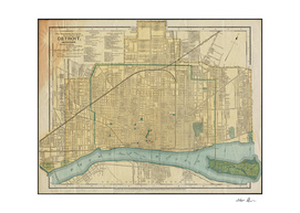 Vintage Map of Detroit Michigan (1895)