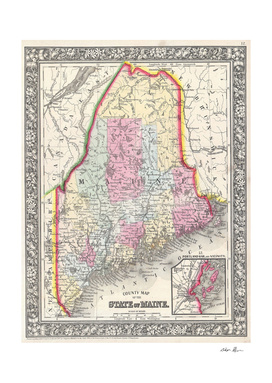 Vintage Map of Maine (1864)
