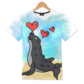Seal with hearts
