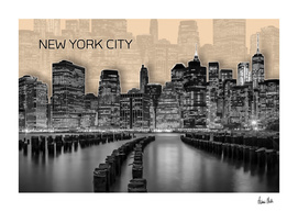 MANHATTAN Skyline | Graphic Art | orange