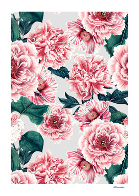 Pattern pink vintage peonies