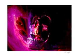 Skull with flames in magical purple lights