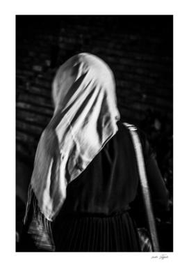 Muslim woman is walking