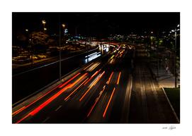 Street night traffic in Izmir (Turkey)