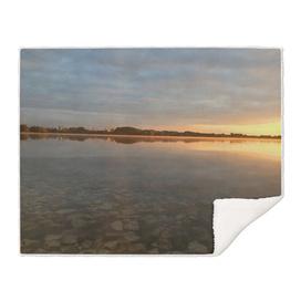 Sunrise at autumn lake