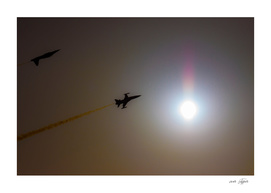 Military turkish acrobatic airplanes in backlight