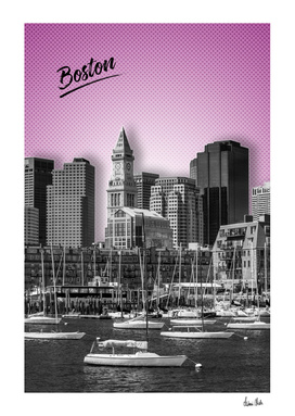 BOSTON Skyline | Graphic Art | pink