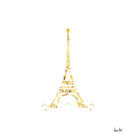 Digital-Art Eiffel Tower   white & golden