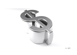 Dollar symbol 3D chromed - 3D rendering