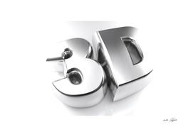 3D in chromed letters - 3D rendering