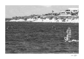 Wind surfing in Turkey - Black and white