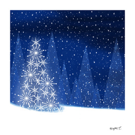 Snowy Night Christmas Tree Holiday Design