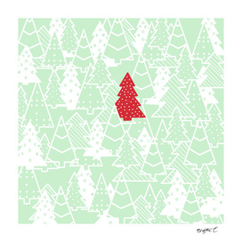 Elegant Green Christmas Trees Holiday Pattern