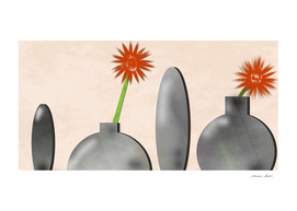 Four vases with two gerberas