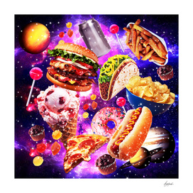Junk Food Sparkly in Galaxy Space Cosmos for Hungry T