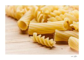 Italian pasta on a wooden table