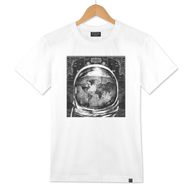 astronaut world map black and white