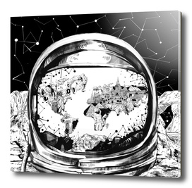 astronaut world map black and white 2