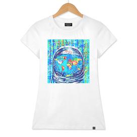 astronaut world map pop art
