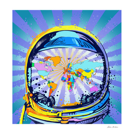 astronaut world map pop art 2