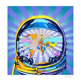 astronaut world map pop art 2