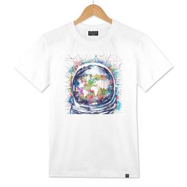 astronaut world map watercolor