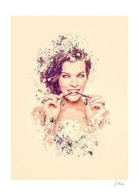 Milla Jovovich splatter painting