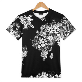 world map flowers black and white 2