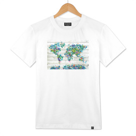 world map flowers vintage