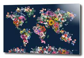 world map flowers vintage 2