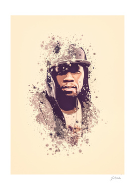 50 Cent splatter painting